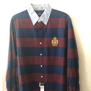 Polo Button Up Rugby Style Shirt Large NEW
